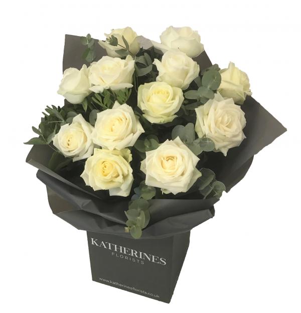 Luxury Large Headed White Roses with Eucalyptus