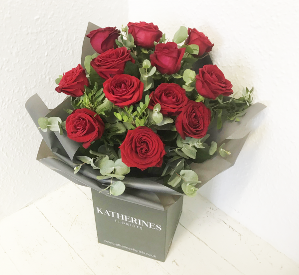 Luxury Large Headed Red Roses with Eucalyptus