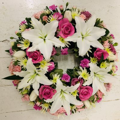 Rose and Lily Funeral Wreath - Pink and White