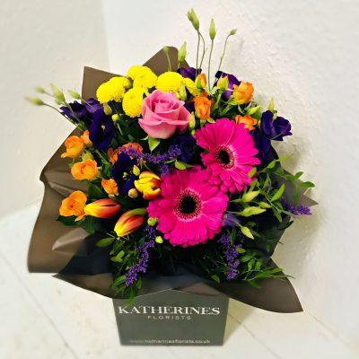 Vibrant Valentines Hand-Tie Flowers Bouquet