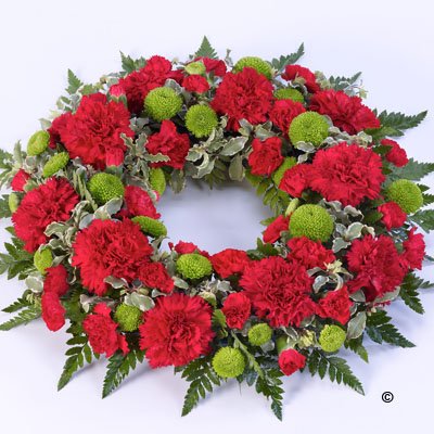 Classic Funeral Wreath - Red and Green