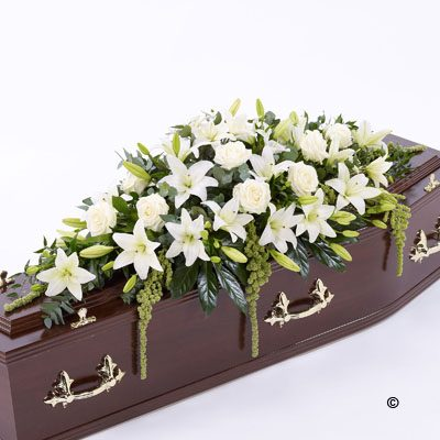 Lily and Rose Casket Spray - White