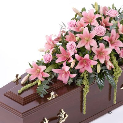 Lily and Rose Casket Spray- Pink