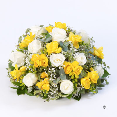 Rose and Freesia Posy- Yellow,White