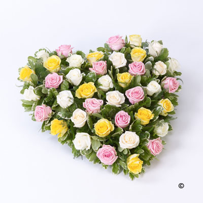 Mixed Rose Heart- Pink,Yellow,Cream
