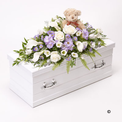 Children's Casket Spray- Blue,Lilac with Teddy Bear