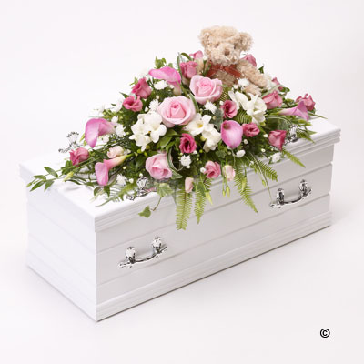 Children's Casket Spray with Teddy Bear-Pink