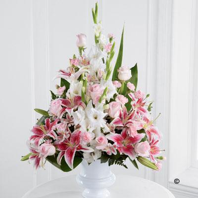 Pink Rose,Lily, Gladioli Service Arrangement