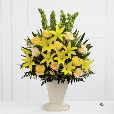 Yellow Lily, Rose Service Arrangement