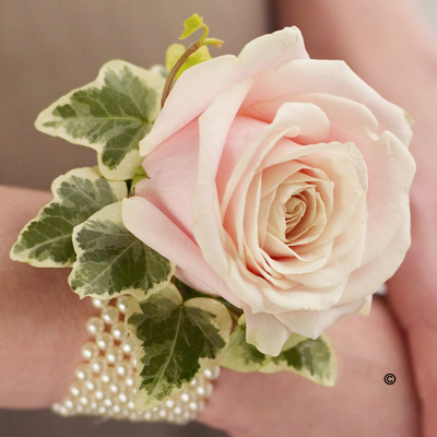 Pearl Wrist Corsage - Soft Pink Rose