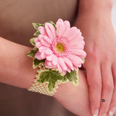 Pearl Wrist Corsage - Pale Pink Germini