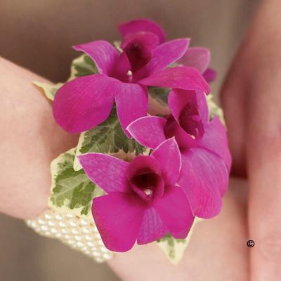 Pearl Wrist Corsage - Rich Purple Dendrobium Orchid