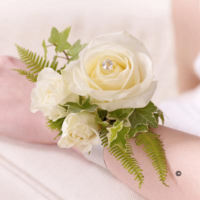 Rose & Fern Wrist Corsage - Ivory