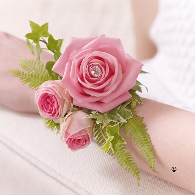 Rose & Fern Wrist Corsage - Pink
