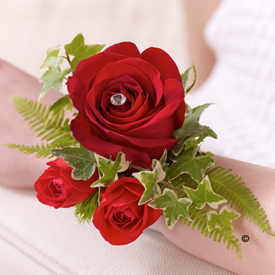 Rose & Fern Wrist Corsage - Red