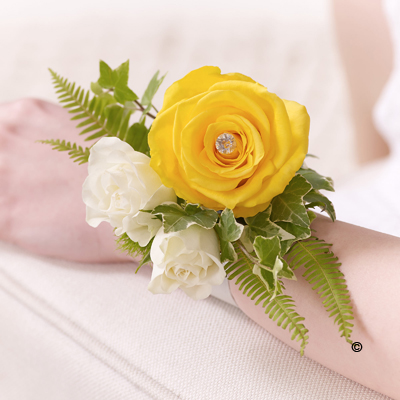 Rose & Fern Wrist Corsage - Yellow