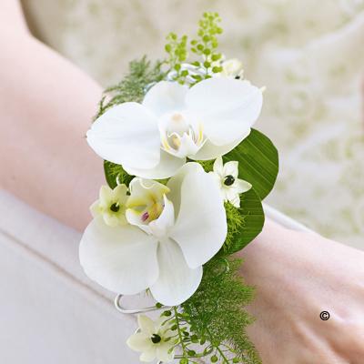 White Orchid & Fern Wrist Corsage
