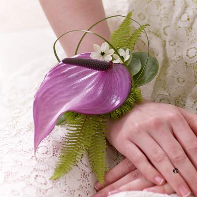 Anthurium Wrist Corsage - Purple