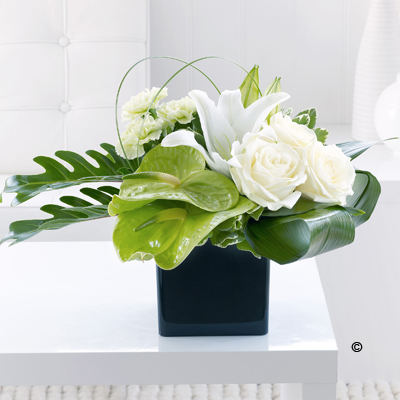 Anthurium, Lily & Rose Arrangement