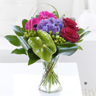 Rose, Hydrangea & Gerbera Vase
