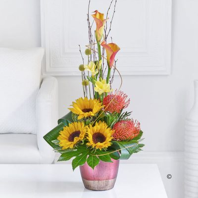 Sunflower and Calla Lily Arrangement