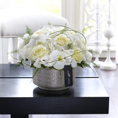 Luxury White Hydrangea, Orchid & Rose Arrangement