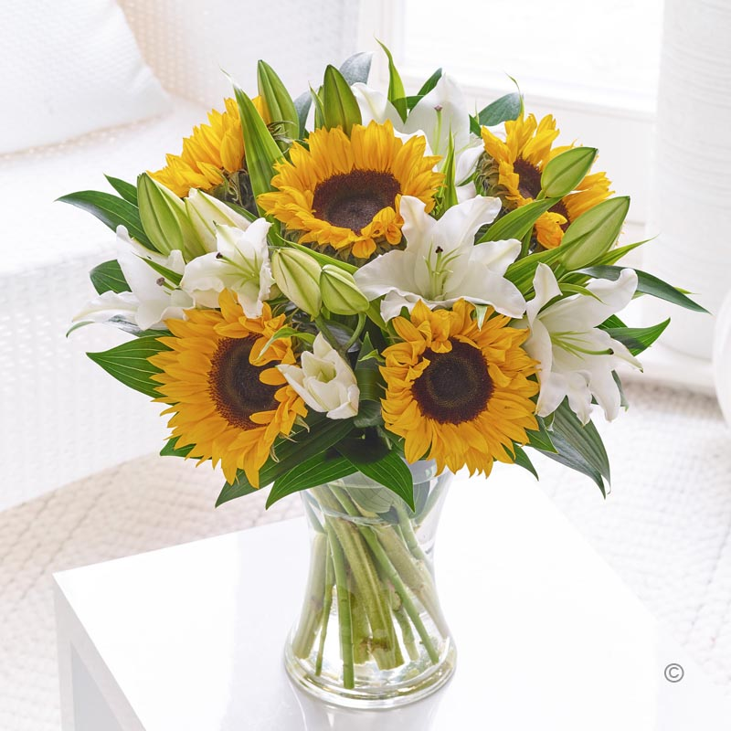 Sunflower & Lily Hand-tied