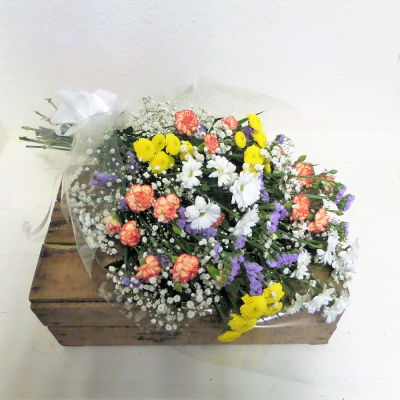 Orange & Yellow Funeral Flowers In Cellophane
