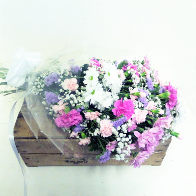 Pink & White Funeral Flowers in Cellophane