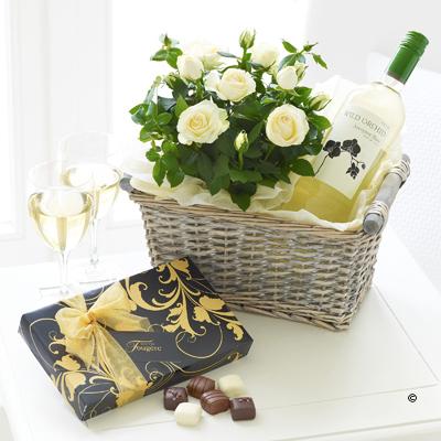 Luxury White Wine Gift Basket