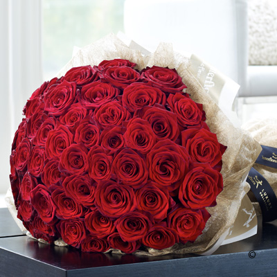 Luxury 50 Red Rose Hand-tied