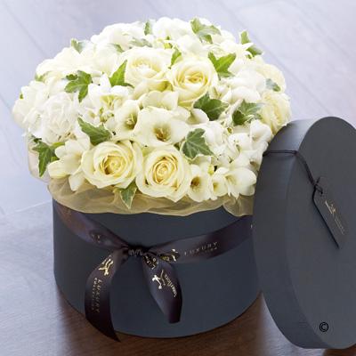 Luxury Rose, Hydrangea & Freesia Hatbox