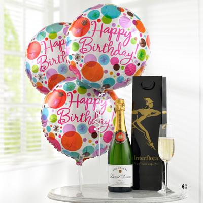 Champagne & Happy Birthday Balloons