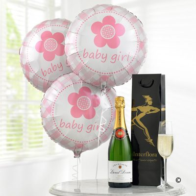 Celebratory Champagne & Baby Girl Balloons