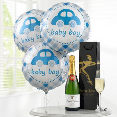 Celebratory Champagne & Baby Boy Balloons