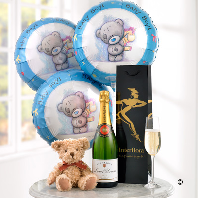 Celebratory Champagne, Baby Boy Balloons and Teddy Bear | New Baby Gifts | Katherines Florists Newcastle